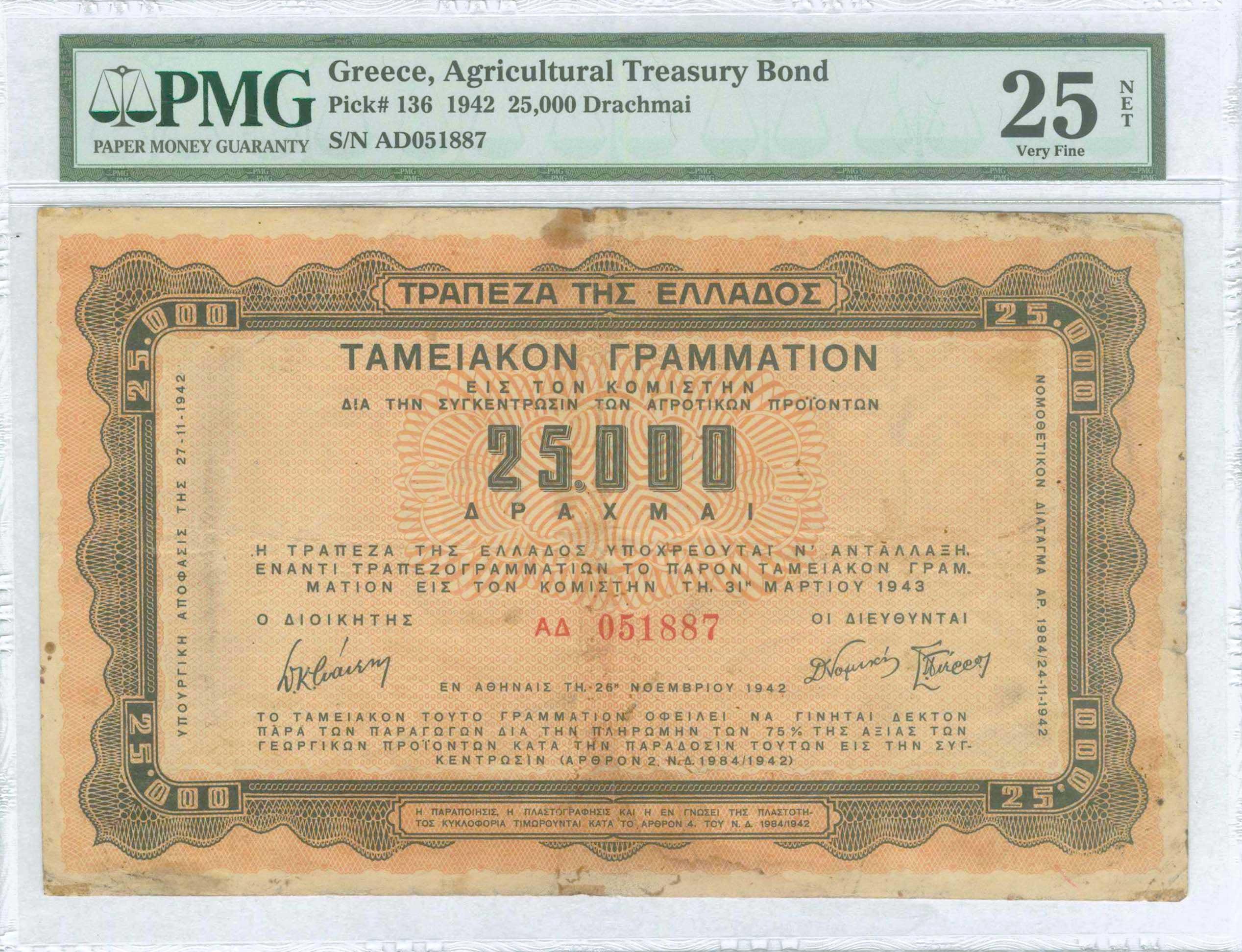 Lot 9382 - GREECE-  PAPER MONEY - BANKNOTES TREASURY BONDS & FISCAL NOTES -  A. Karamitsos Public & LIVE Bid Auction 610 Coins, Medals & Banknotes